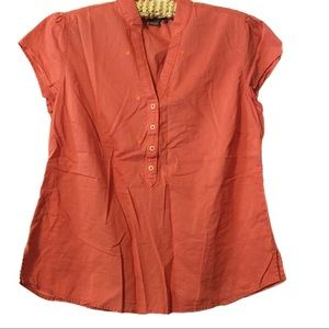 Royal Robbins orange coral button blouse large